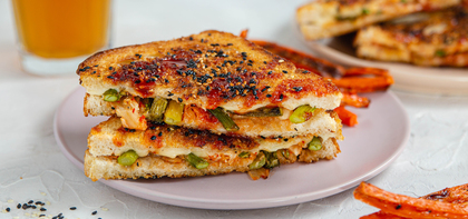 Kimchi Grilled Cheese Sandwiches with Charred Asparagus & Carrot Fries