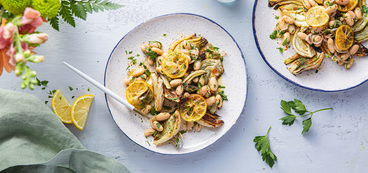 Roasted Fennel with Marinated Cannellini Beans & Crispy Lemons