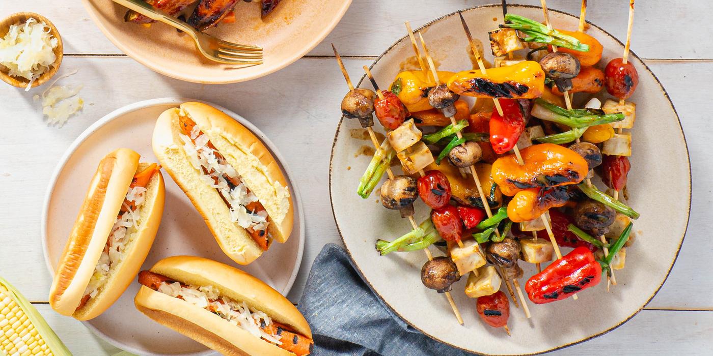 Hoisin BBQ Veggie Skewers with Tofu