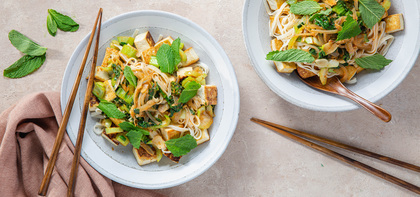 Spicy Red Curry Coconut Noodles with Crispy Tofu & Bok Choy