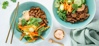 Vietnamese Seitan with Pickled Vegetables & Brown Rice