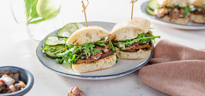 Italian Sausage Sandwiches with Shallot Relish & Dilly Cucumber Salad