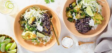 Cumin Black Bean Bowls with Cilantro Rice & Poblano Tomatillo Salsa