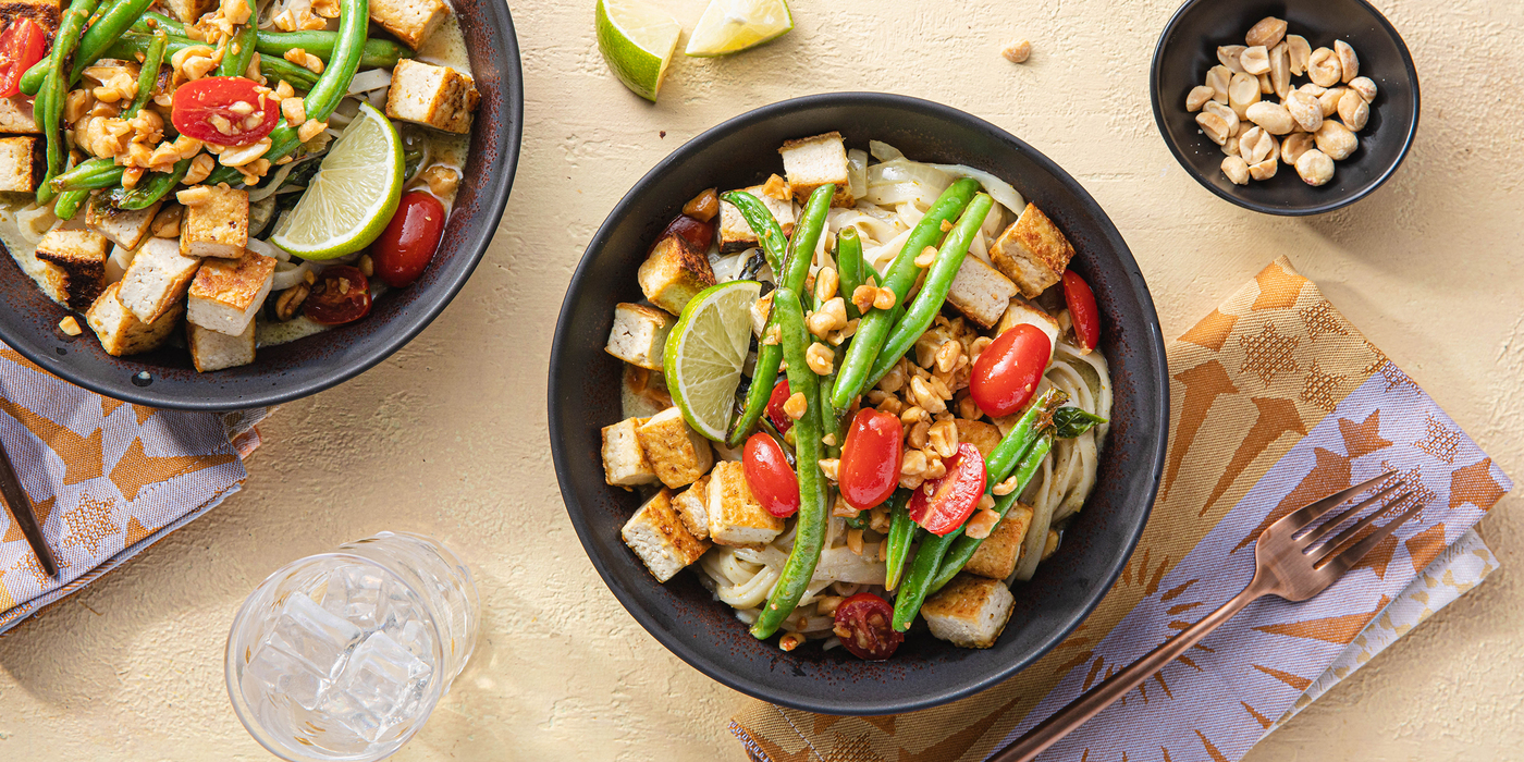Green Curry Noodles with Basil & Thai Tomato Salad