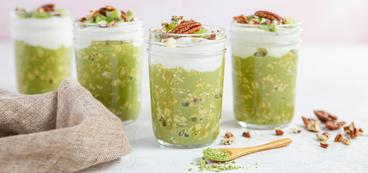 Matcha Overnight Oats with Pecans & Vanilla Yogurt