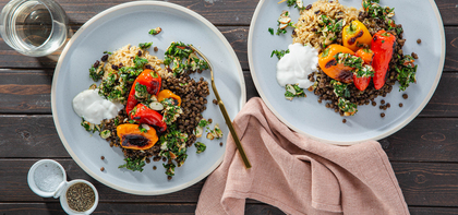 Roasted Sweet Peppers with French Lentils & Toasted Almond Salsa