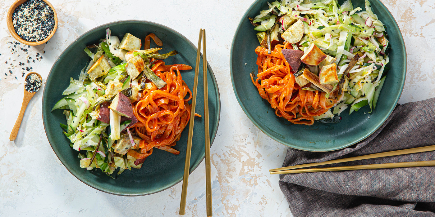 Spicy Gochujang Rice Noodles with Japanese Yam & Sesame Cabbage