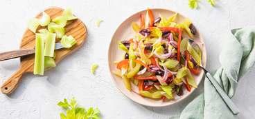 Marinated Celery Antipasto with Red Pepper & Kalamata Olives