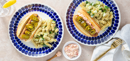 Italian Sausages with Pimento-Style Cheese & Dilly Pasta Salad