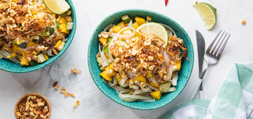 Chilled Mango Tamarind Noodles with Toasted Peanuts & Thai Chile Sizzle