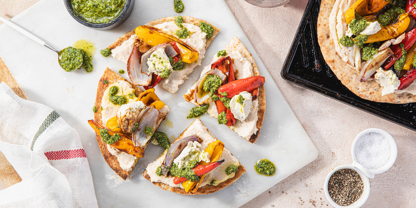 Pesto Flatbreads with Agrodolce Peppers & Cannellini Bean Purée