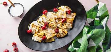 Grilled Pineapple with Coconut Cream & Fresh Cherries