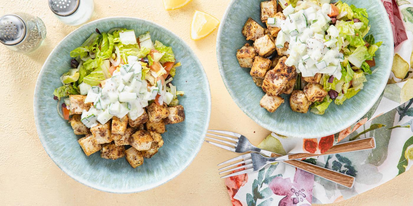 Sumac Tofu Fattoush with Kalamata Olives & Creamy Cucumber Dressing