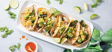 Rajas Tacos with Avocado & Roasted Corn Salsa
