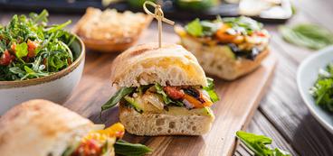 Summer Vegetable Ciabatta with Cashew Cheese & Roasted Tomato Vinaigrette