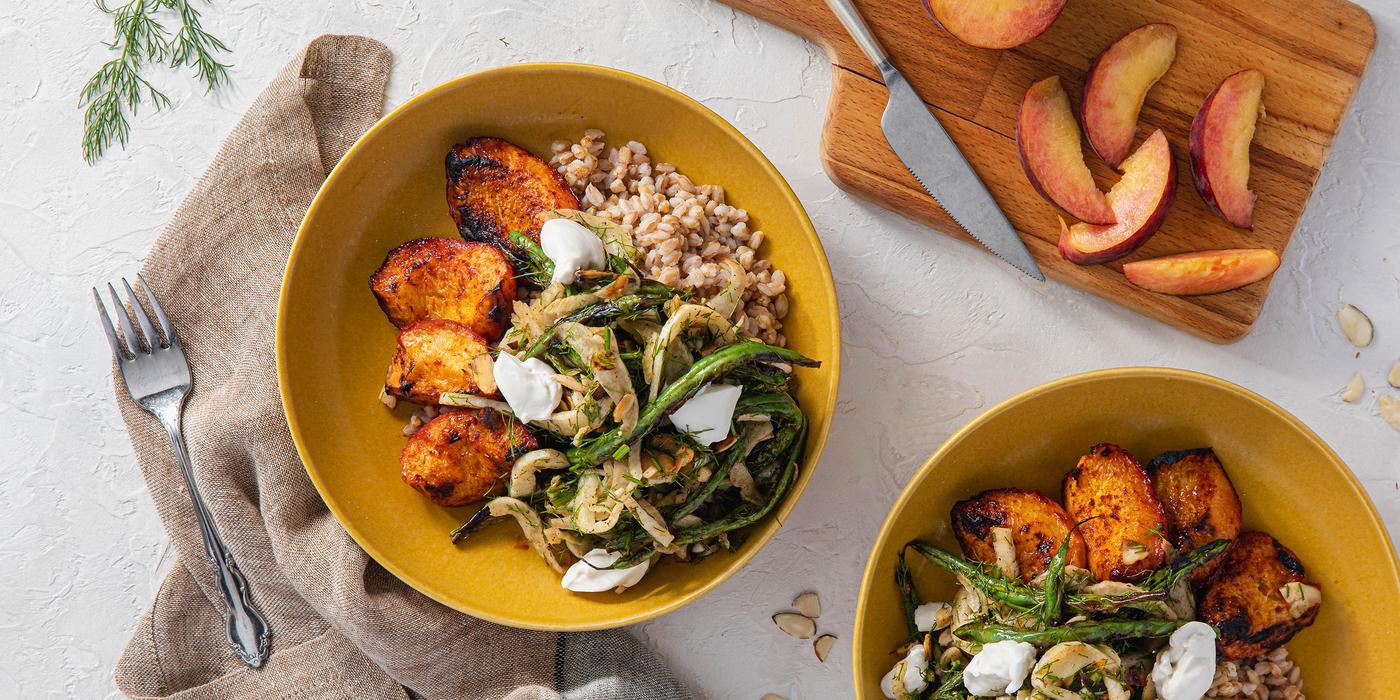 Smoky Peach & Farro Bowl with Almond Fennel Salad