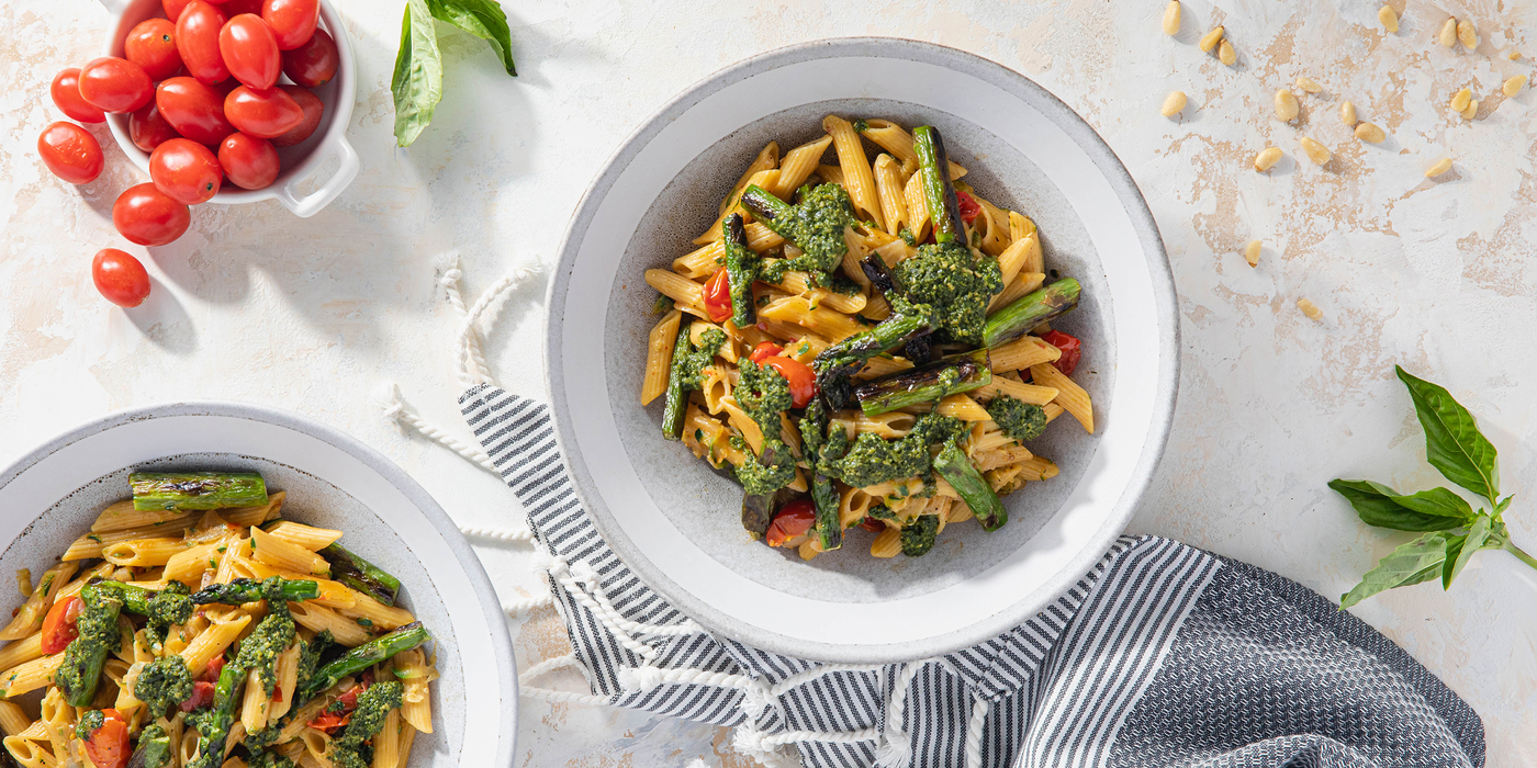 Penne al Pesto with Melted Zucchini & Charred Asparagus
