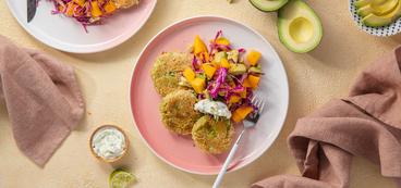 Tropical Avocado Cakes with Mango Slaw & Pickled Pepper Aioli