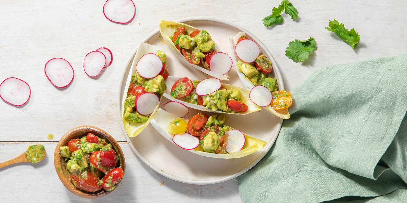 Belgian Endive Cups with Gingered Avocado & Radish