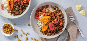 Palestinian Spiced Peppers with Crispy Seitan & Tomato-Caper Relish
