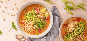 Thai Massaman Curry with Blistered Tomatoes & Minty Snap Pea Salad