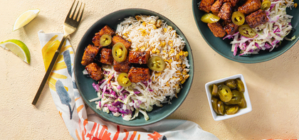 BBQ Tempeh with Sweet Corn Pilaf & Lime Slaw