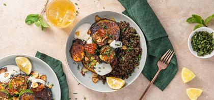 Harissa Glazed Eggplant Stacks with Garlicky Lentils & Mint