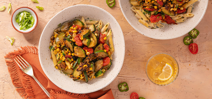 Summer Penne Alfredo with Sweet Corn & Burst Tomatoes