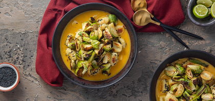 Black Sesame Gnocchi with Roasted Brussels Sprouts & Ginger Pumpkin Butter