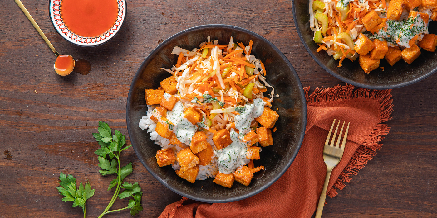 Spicy Buffalo Tofu Bowls with Celery Carrot Slaw & Herbed Ranch