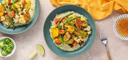 Turmeric Roasted Vegetables with Spicy Cumin Coconut Sauce & Mango Chutney