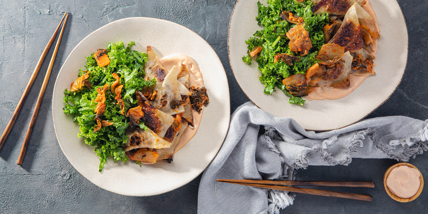 Scallion Mushroom Dumplings with Sesame Kale Salad & Kimchi Mayo
