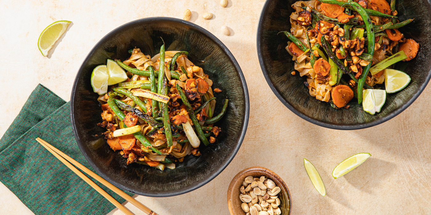 Peanut Pad Thai Noodles with Charred Green Beans & Lime