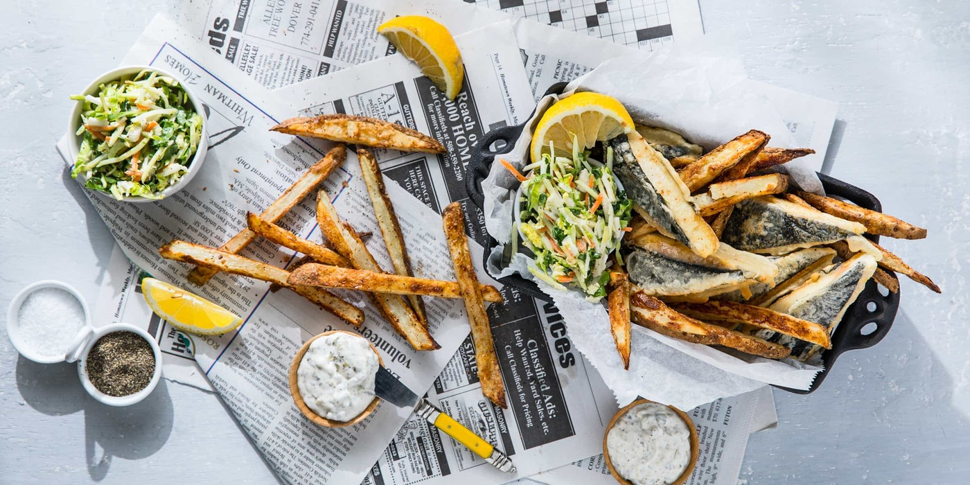 """Vegan """"Fish"""" and Chips with Classic Tartar Sauce and Coleslaw"""