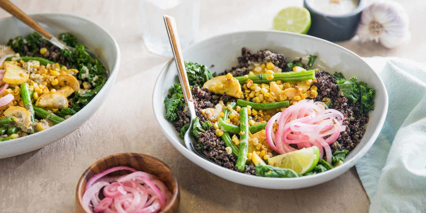 Charred Corn and Kale Salad with Pickled Onion and Citrus Cumin Dressing