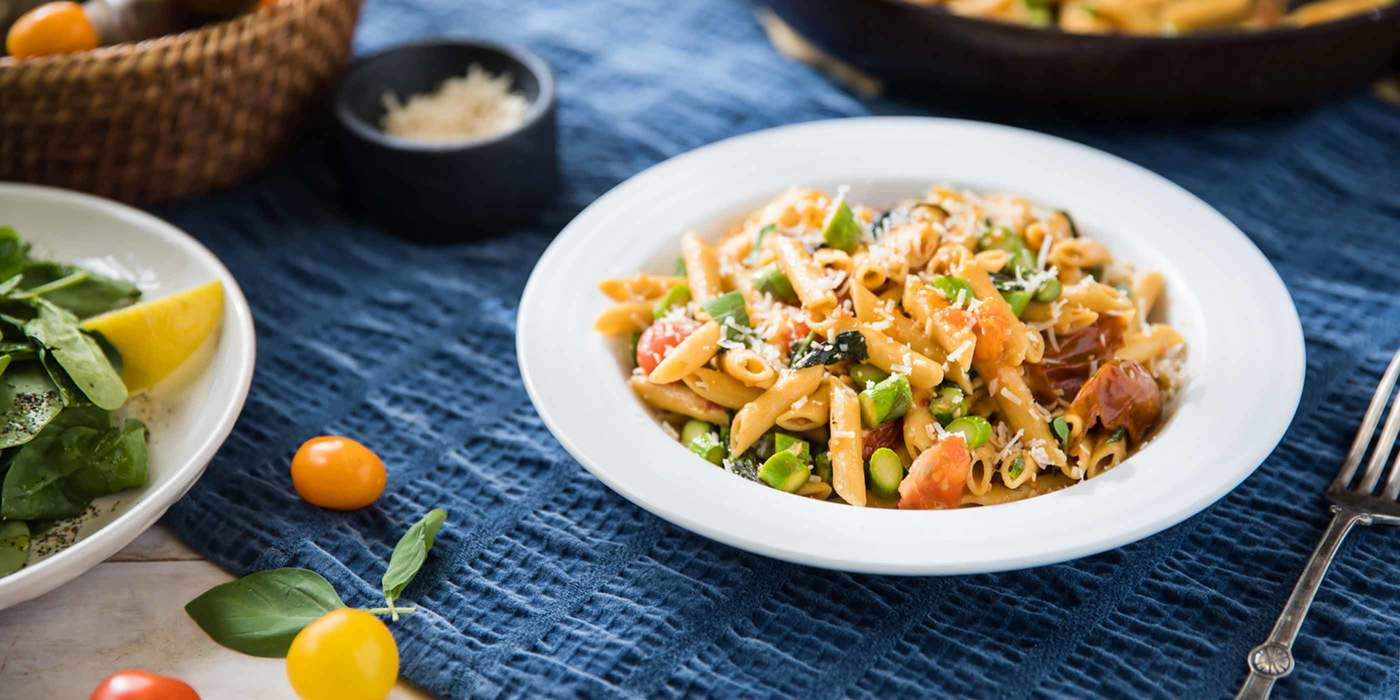 Cherry Tomato Penne with Asparagus and Garlic Oil