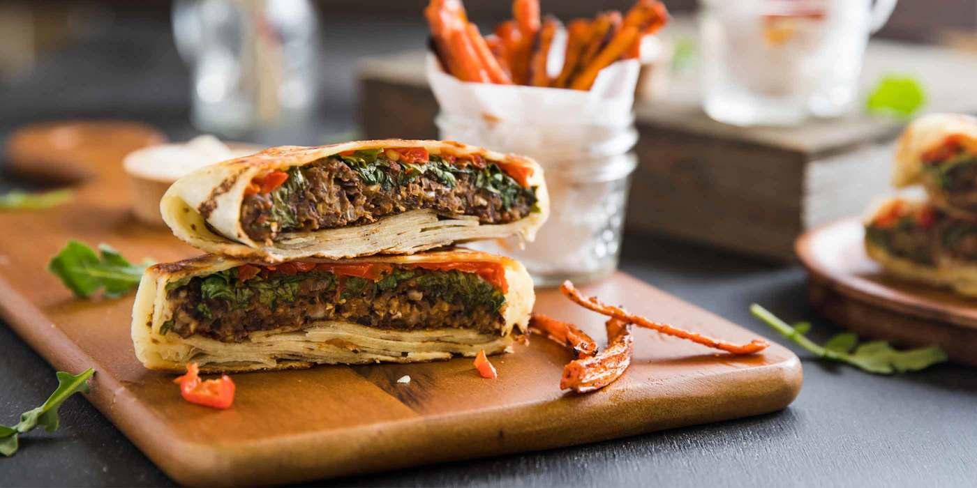 Black Bean Burger Wraps with Carrot Fries and Garlic Aioli
