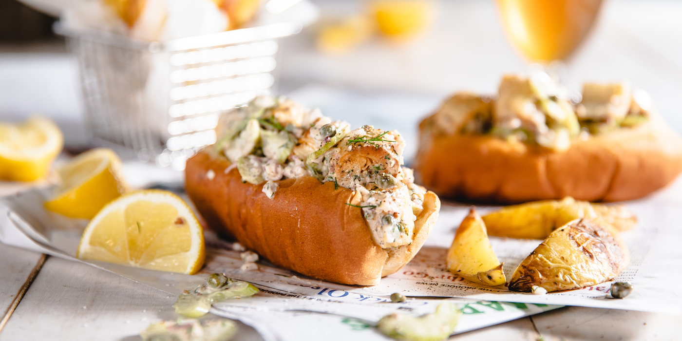 New England Lobster Roll with Hearts of Palm and Lemon Pepper Potato Wedges