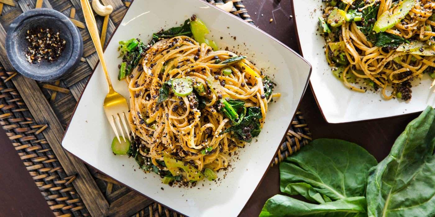 Sesame Cashew Noodles with Gai Lan & Nori Spice