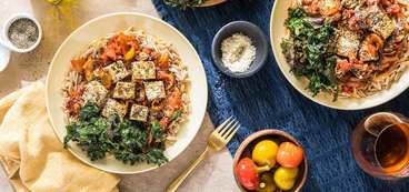 Tofu Cacciatore with Cremini Mushrooms & Crispy Kale Chips