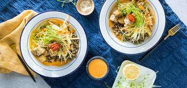 Za'atar Tofu Bowls with Sweet Sesame-Roasted Parsnips & Harissa Tahini