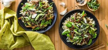 Take-out Style Seitan with Cauliflower Rice & Bok Choy