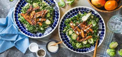Kale Brussels Sprout Caesar Salad with BBQ Tempeh & Cashew Dressing