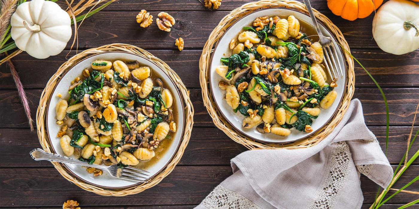 Gnocchi Mushroom Florentine with Toasted Walnuts