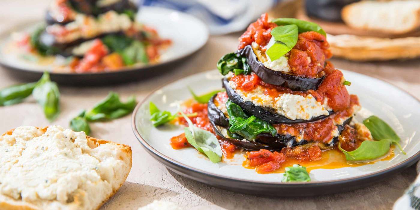 Eggplant Florentine with Fire Roasted Tomato Sauce & Toasted Ciabatta