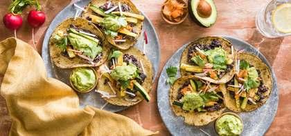 Charred Zucchini Street Tacos with Kimchi & Avocado Lime Crema