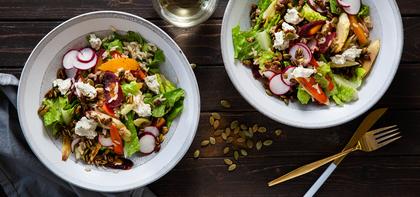 Roasted Roots Salad with Spicy Pumpkin Seeds & Orange Vinaigrette