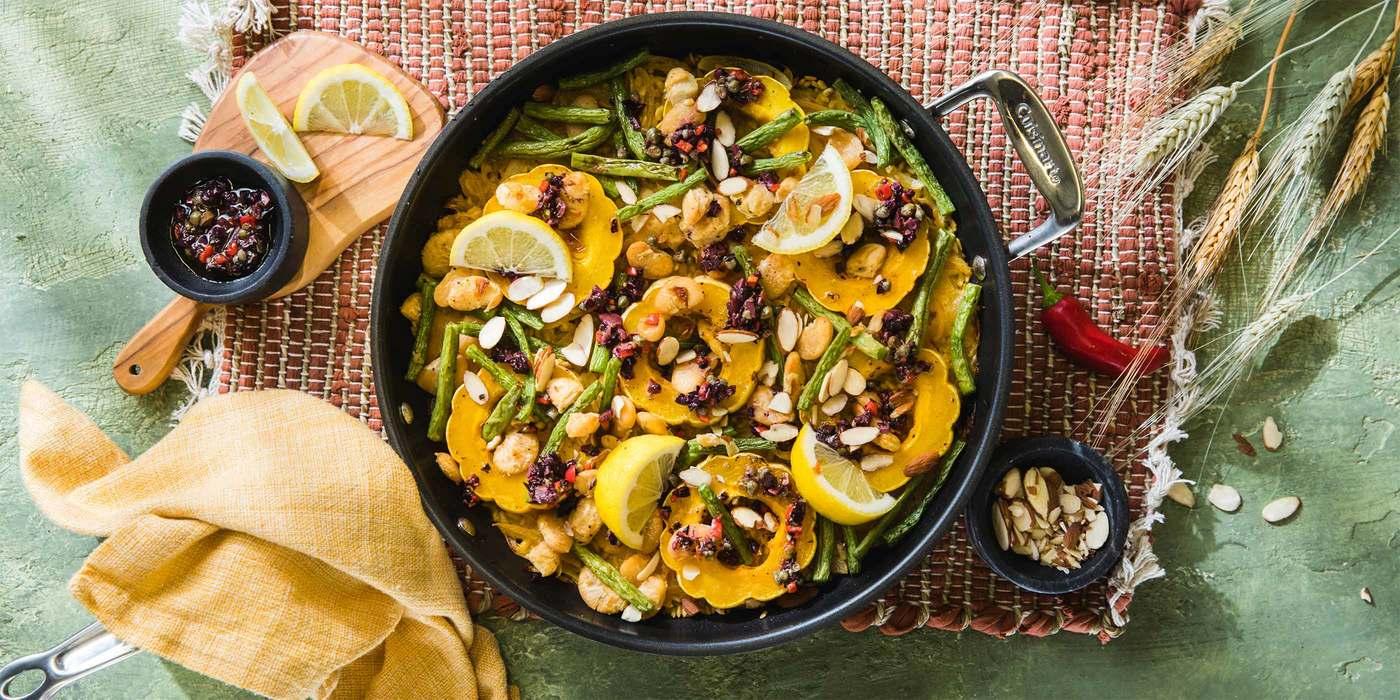 Delicata Squash Paella with Saffron & Olives