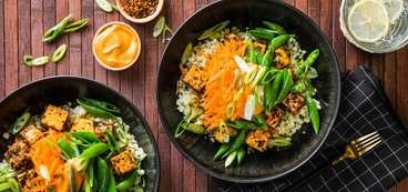 Korean Tofu Bowl with Cauliflower Rice & Gochujang Sauce