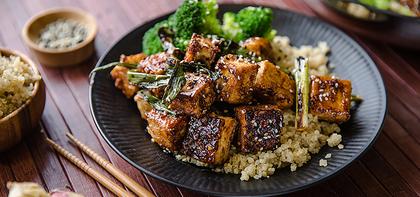General Tso's Tofu with Quinoa & Steamed Broccoli